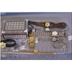 A selection of wrist watches including MacKenzie 25 jewel, Cardinal 17 jewel, Rocaro plus two sterli
