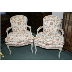 Two crewel work upholstered and armed parlour chair with woven rattan backs and cabriole feet