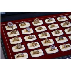 A case of Jeweller's brass ring samples, 35 count