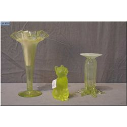 Two antique Model Flint Glass Co. yellow and opalescent Uranium glass bud vases and a small yellow U