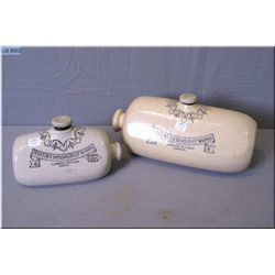 Two well marked English made stoneware pigs both Doulton Improved Foot warmer, Lambeth Pottery