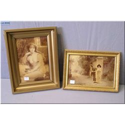 """Two vintage reverse litho on glass pictures including Gibson girl and one titled """"Marcus Stone 1881"""""""