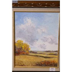 """A framed acrylic on board painting of a rural fall scene signed by artist Rose Leonard 10"""" X 8"""""""