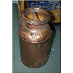 """Copper cream jug with lid marked """"CJW"""""""