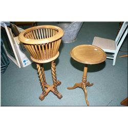 Barley twist support fern stand and a single  pedestal wine table
