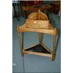 Vintage bob and turned oak corner stick stand with drip tray