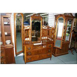 Antique walnut multi-drawer and multi-mirror dresser
