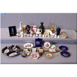 A selection of  collectible cabinet pieces including Limoges, thimbles, small vases etc.