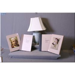 "A glazed porcelain table lamp with shade plus two boxed art books, ""The World of Rembrandt  1606-166"