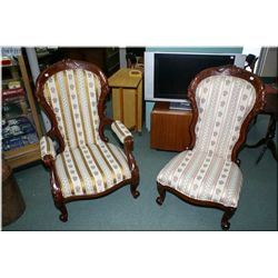 Pair of his and hers Victorian style parlour chairs with scrolled feet and carved decoration