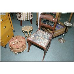 Tapestry upholstered side chair, a upholstered foot stool and a cast decorative side table
