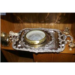 A selection of silver plate including two handled trays, two casserole dishes, round tray plus  mini