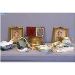 A selection of vintage collectibles including Daguerreotype photograph, art nouveau jewel box, china