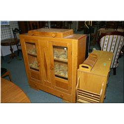 Vintage country kitchen oak cabinet