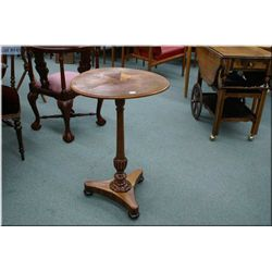 "An antique center pedestal occasional table with  matched grain 20"" inlaid top"