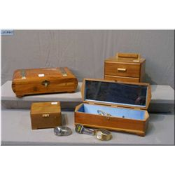 Four men's jewel boxes and contents including men's wrist watches, cufflinks, tie clips etc