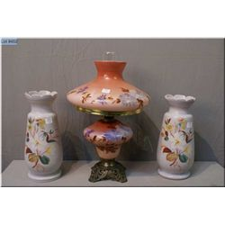 "A pair of hand painted vases 12"" in height and a vintage hand painted oil lamp with cast base and gl"