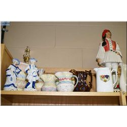 A selection of  collectibles including porcelain figurines, vintage liquor bottle, Capodimonte bird