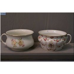 Two vintage chamber pots including stamped Royal Doulton