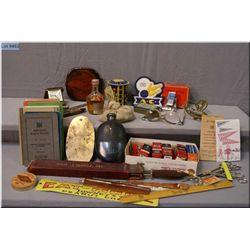 A tray lot of vintage collectibles including desk calendar, flask, bag of marbles, vintage money  ba