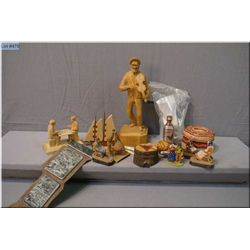 A selection of treenware including wooden carvings, plus a stone art carving kits, small woven baske