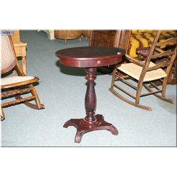 A vintage center pedestal Empire style, single drawer occasional table