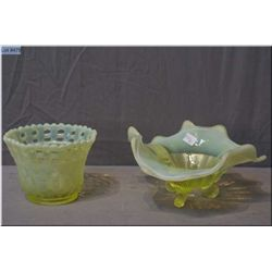 Two pieces of vintage canary yellow and opalescent Uranium glass including Fenton basket weave with