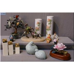Selection of collectibles including floral on  musical base, cast silver plate on marble base bull f