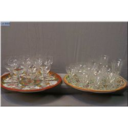 Six large and six smaller Rosenthal wine glasses and a selection of etched wine glasses