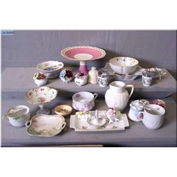 A large selection of porcelain collectibles including an Aynsley comport, Victorian moustache cups,