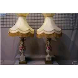 Two large hand painted table lamps with shades
