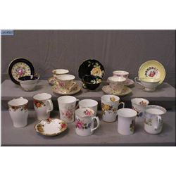 A selection of  Royal Albert coffee mugs, plus  seven cups and saucers, various makers including Col