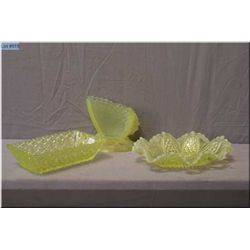 Three piece of  vintage canary yellow Uranium glass including butterfly vase, ruffled edge dish  and