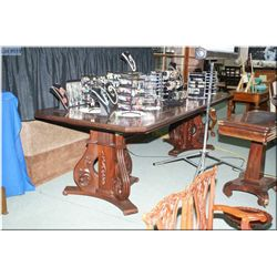 """Custom made double pedestal cherry wood  dining/boardroom table with 42"""" X 108"""" inlaid top"""