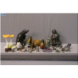 """A selection of Jane Luger """"The Woodland Animals"""" pewter miniatures, two carved wooden ducks, soapsto"""