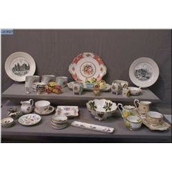 A selection of china and collectibles including  Royal Albert cream and sugar, plus drip tray, Royal