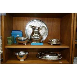 Selection of silver plate including two water  pitchers, three covered vegetable, cream and sugar, f