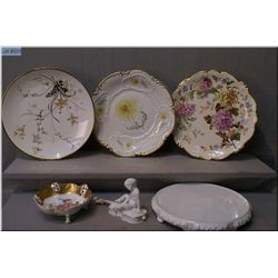 A selection of Rosenthal porcelain including three chargers, a cake stand plus pierced edge dish and