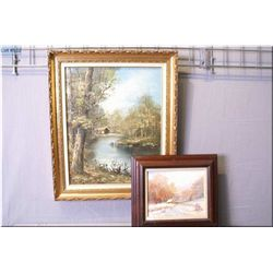 """A original oil on canvas landscape featuring a  wooden river scene signed by arist Panto(?) 19"""" X  1"""