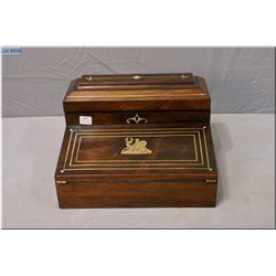 Antique rosewood fitted writing slope with inlaid brass decoration and leather writing surface