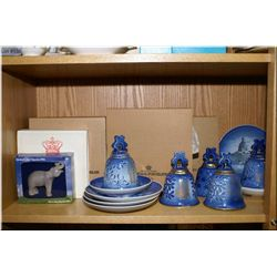 A large selection of Copenhagen porcelain including bells, plates, and figures
