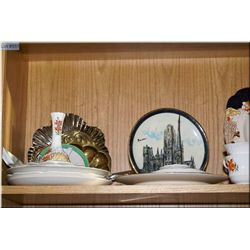 Selection of collectibles including Imari platter, hand painted plates, tidy bettys, etc