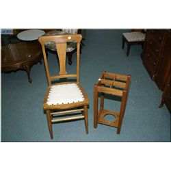 Vintage oak T-back chair with upholstered seat and an antique mission style oak stick/umbrella stand