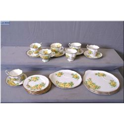 A selection of Royal Albert Tea Rose china including five bread plates, six cups and saucers,   tenn