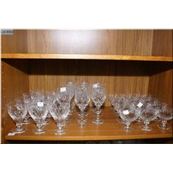 Selection of Webb & Corbett stemware including twelve champagne, eleven wine and nine juice  glasses