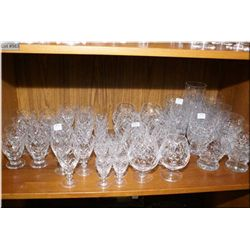 Selection of Webb & Corbett signed stemware including eight small juice glasses, eleven liqueur, twe
