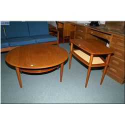 Danish made France & Sons round teak coffee table and rounded corner trapezoid end table