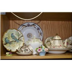 Selection of collectibles including teapot, biscuit barrel, turine, cups and saucers, florals, etc.