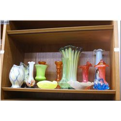 A selection of vintage glass and porcelain including Murano, cased glass vases etc.