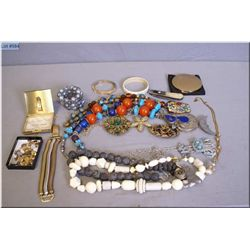 Two lots of costume jewellery including necklaces, bracelets, compacts, brooches etc.